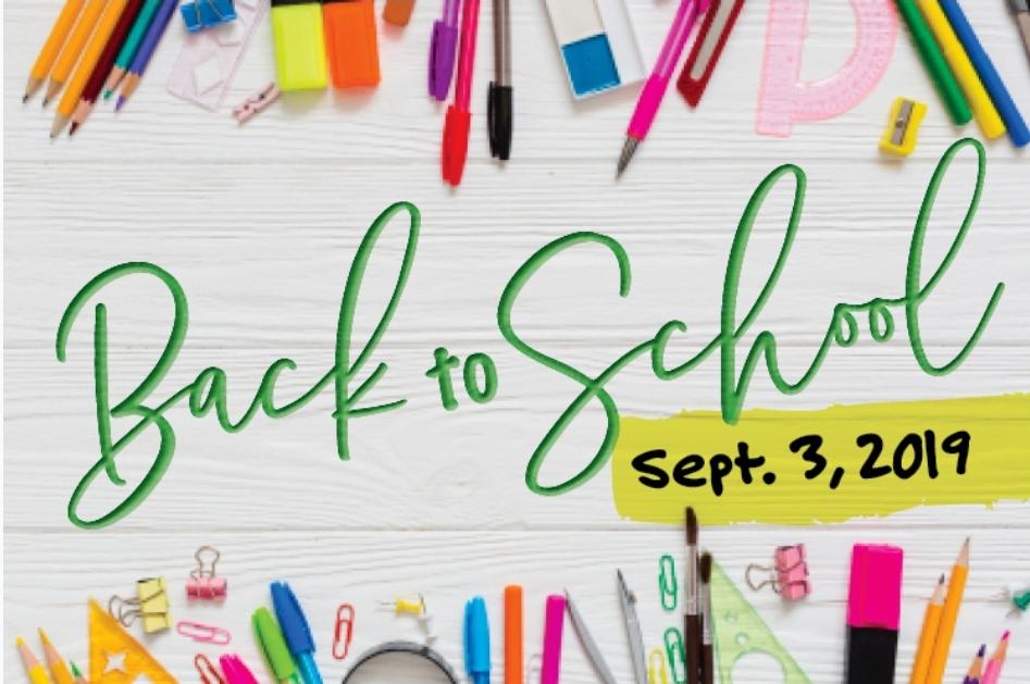 School Starts September 3, 2019