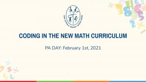 Coding in New Math Curriculum